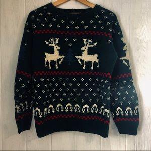 Eddie Bauer Christmas Sweater Wool S Reindeer